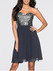 Spaghetti Strap Glitter Plain Skater Dress