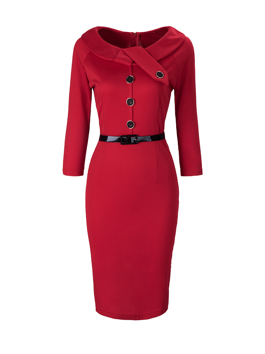 Doll Collar Belt Split Plain Bodycon Dress