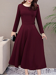 Round Neck Daily Plain Maxi Dress