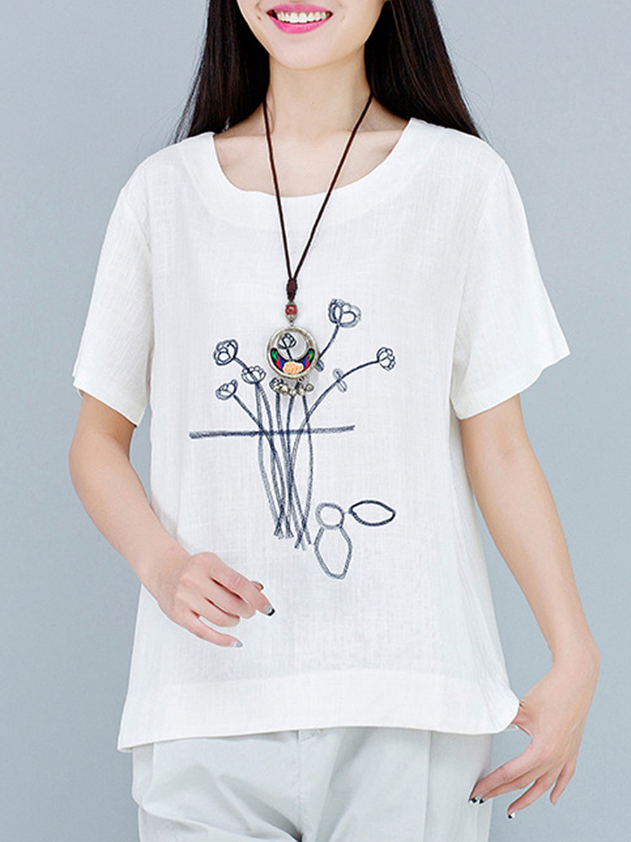 Loose Fitting Embroidery Round Neck Short Sleeve T-Shirt