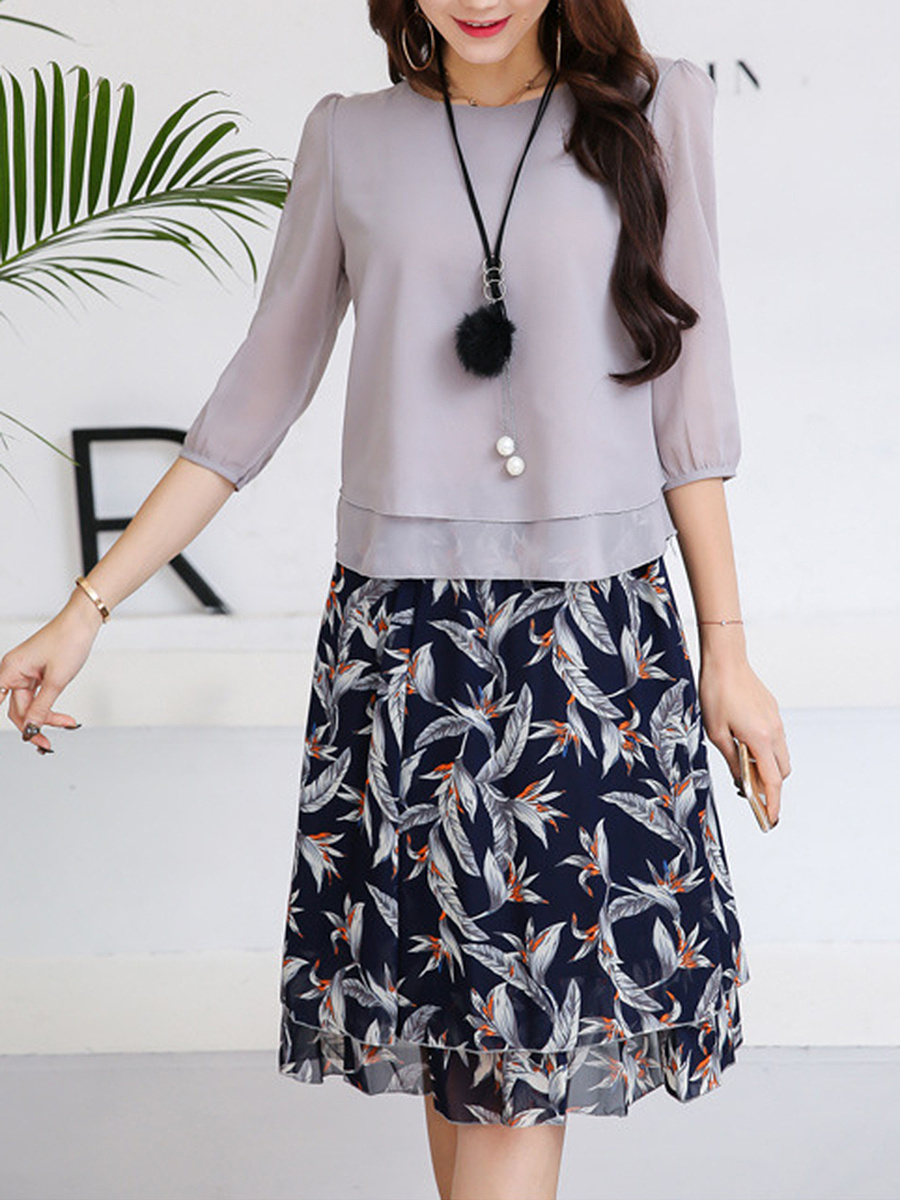 Charming Round Neck Blouse And Printed  Flared Skirt