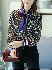 Autumn Spring  Chiffon  Women  Tie Collar  Plaid  Puff Sleeve  Long Sleeve Blouses