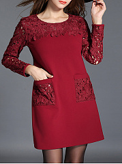 Round Neck  Decorative Lace  Plain  Blend Shift Dresses