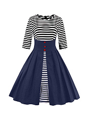 Color Block Striped Round Neck Plus Size Flared Dress