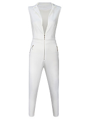 Lapel Zips Plain Slim-Leg Jumpsuit