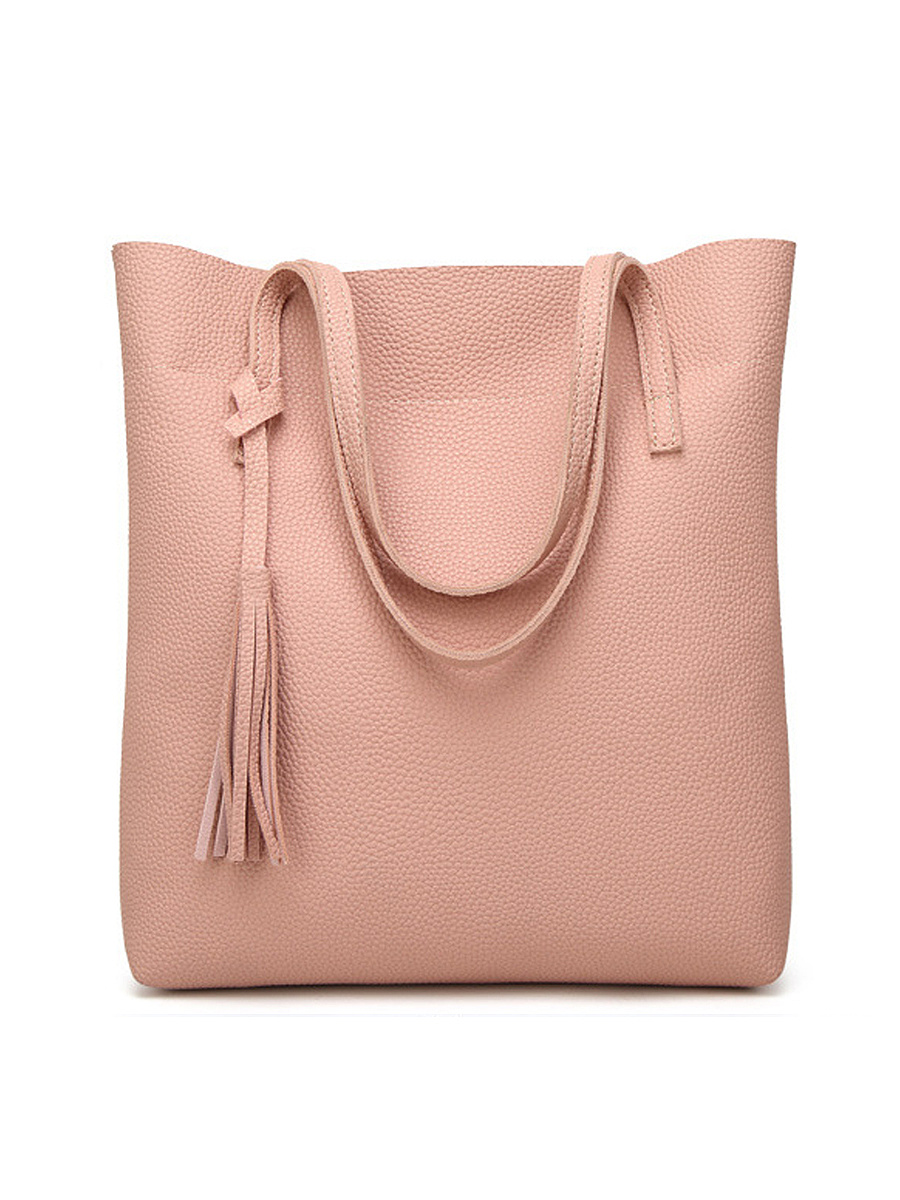 Tassel Pu Plain Big Capacity Bag