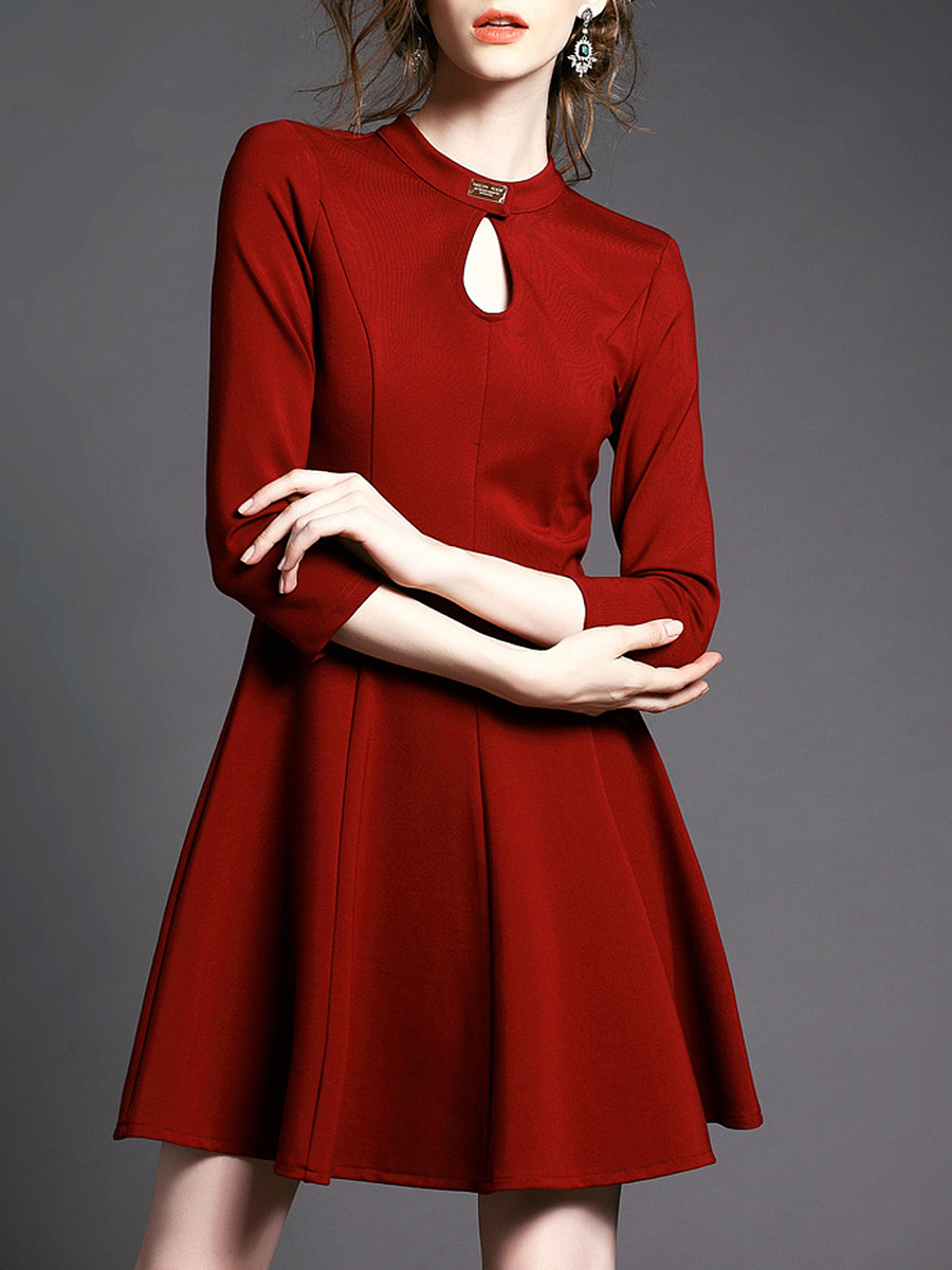 Band Collar Keyhole Bowknot Hollow Out Skater Dress