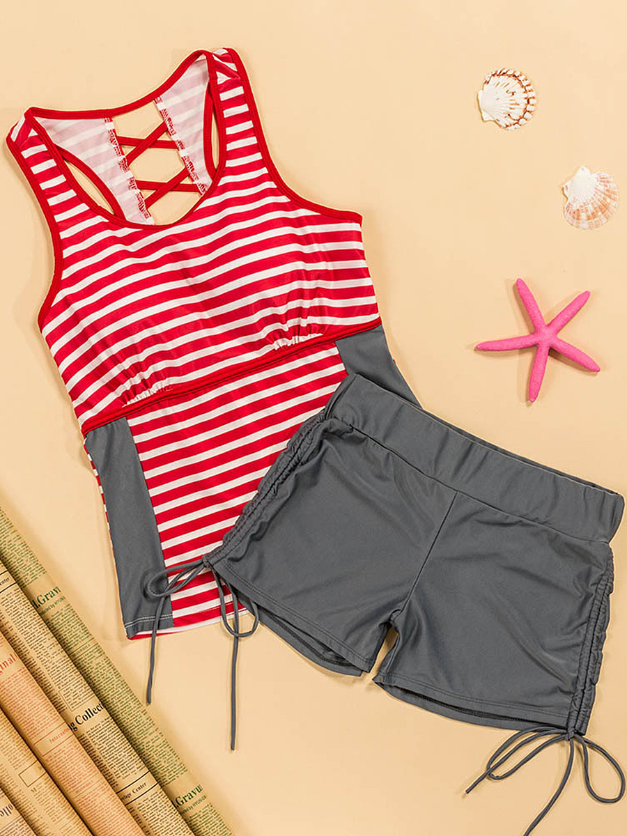 Striped Drawstring Racerback Back Hole Round Neck Tankini