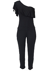 One-Shoulder-Flounce-Pocket-Plain-Slim-Leg-Jumpsuit