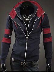 Men Hooded Color Block Pocket Coat