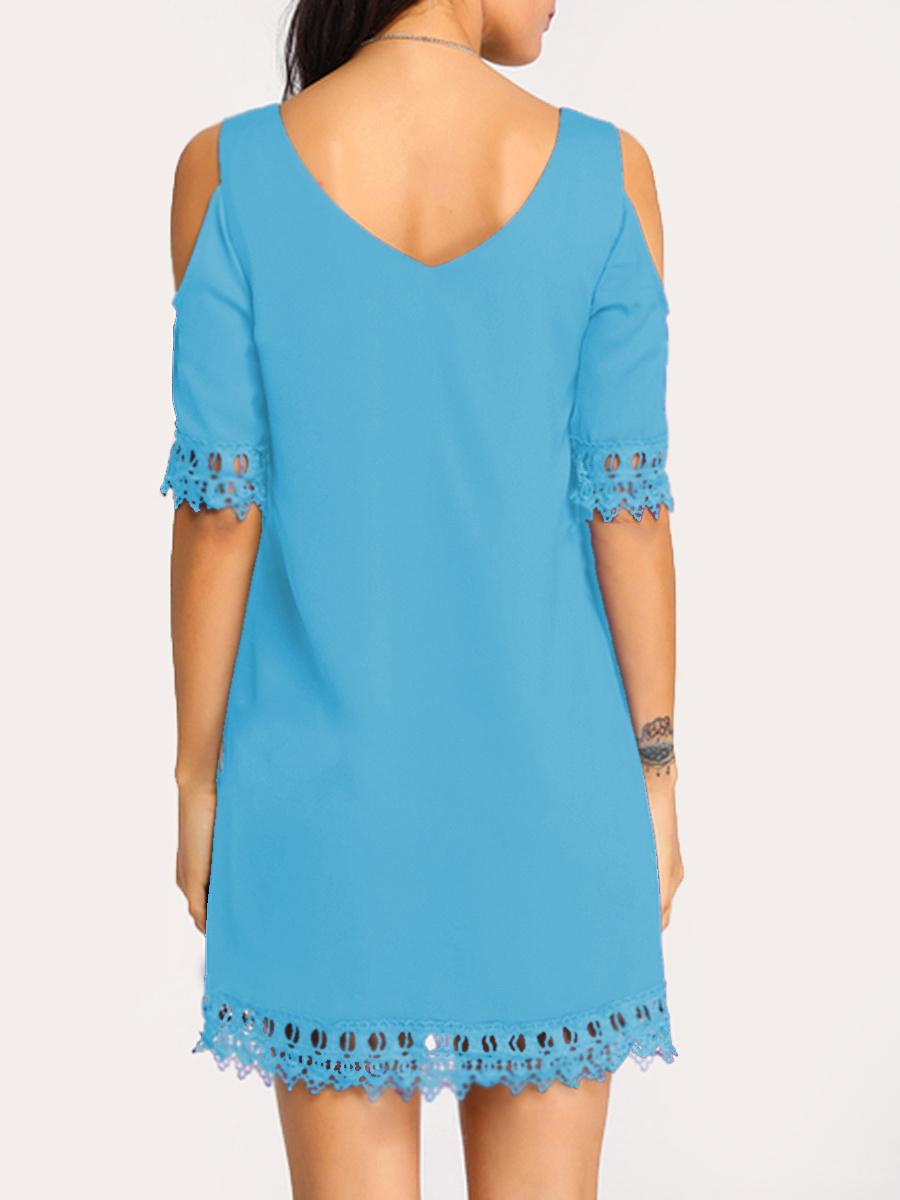 V-Neck  Decorative Lace  Plain Shift Dress