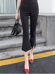 Black Basic Formal High Slit  Bootcut  High-Rise Casual Pants