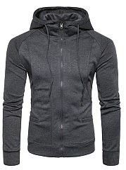 Men Plain Pocket Raglan Sleeve Hoodie