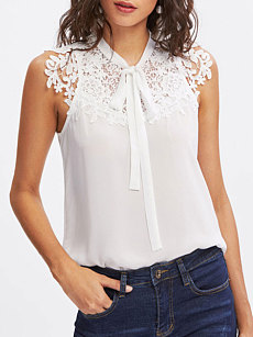 Summer  Polyester  Women  Tie Collar  Decorative Lace See-Through  Plain  Sleeveless Blouses