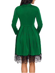 Band Collar  Decorative Lace Ruffled Hem  Plain  Polyester Skater Dress