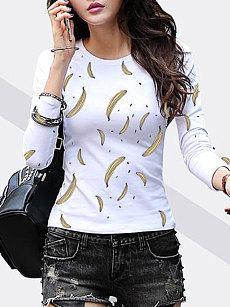 Autumn Spring  Polyester  Women  Round Neck  Banana Printed  Long Sleeve T-Shirts