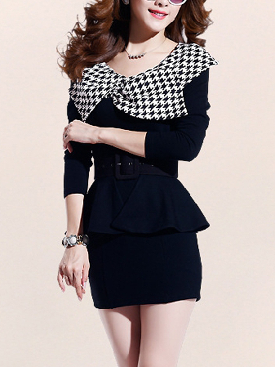 Houndstooth Fold-Over Collar Bodycon Dress With Flounce Belt