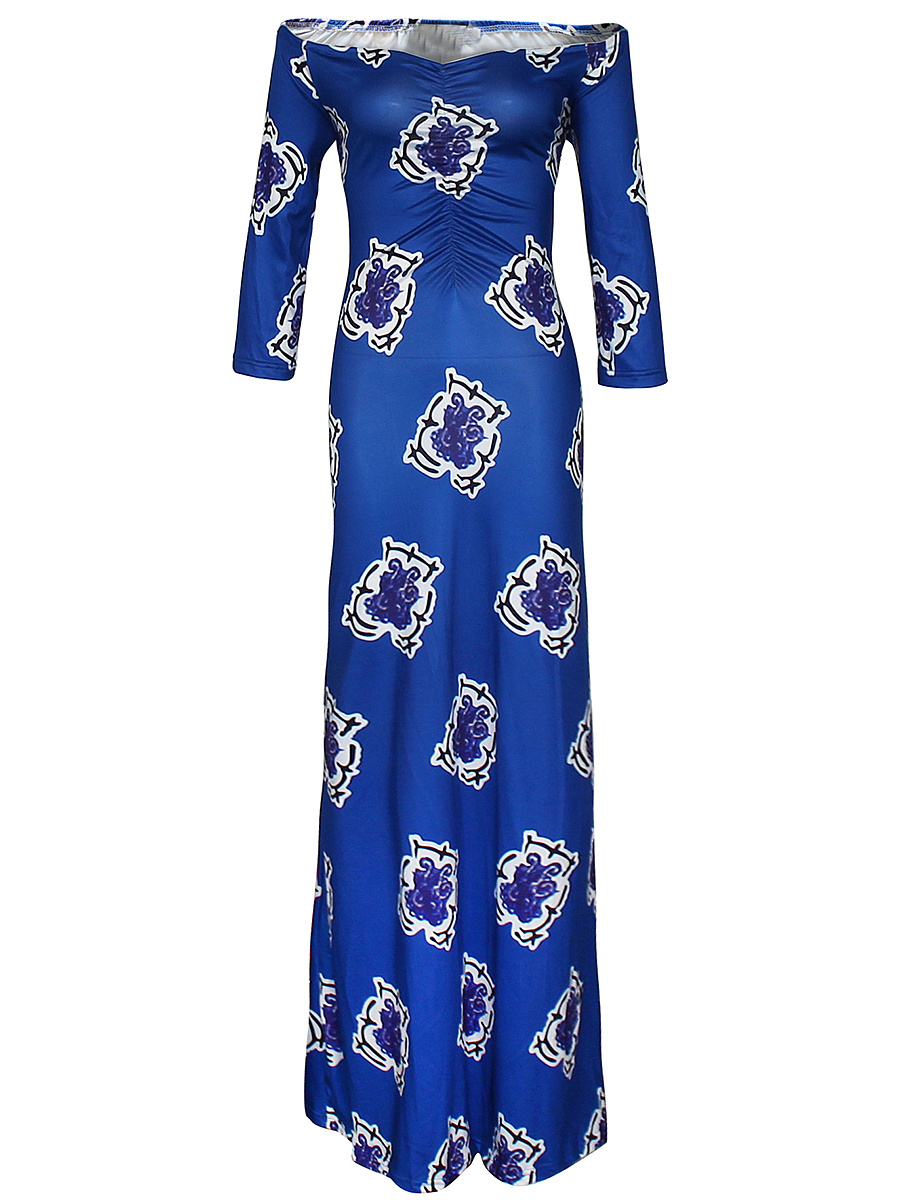 Off Shoulder Two Way Printed Maxi Dress