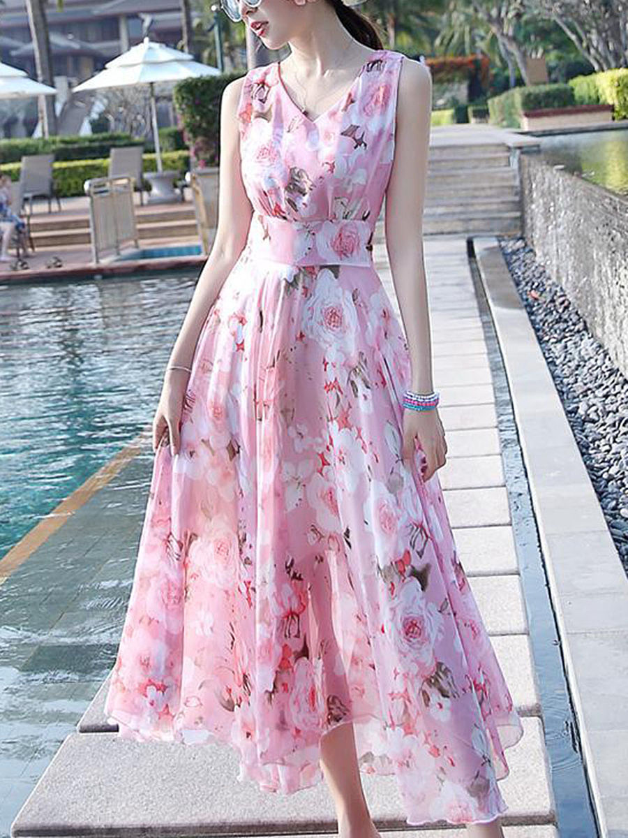 V-Neck Floral Chiffon Sleeveless Maxi Dress