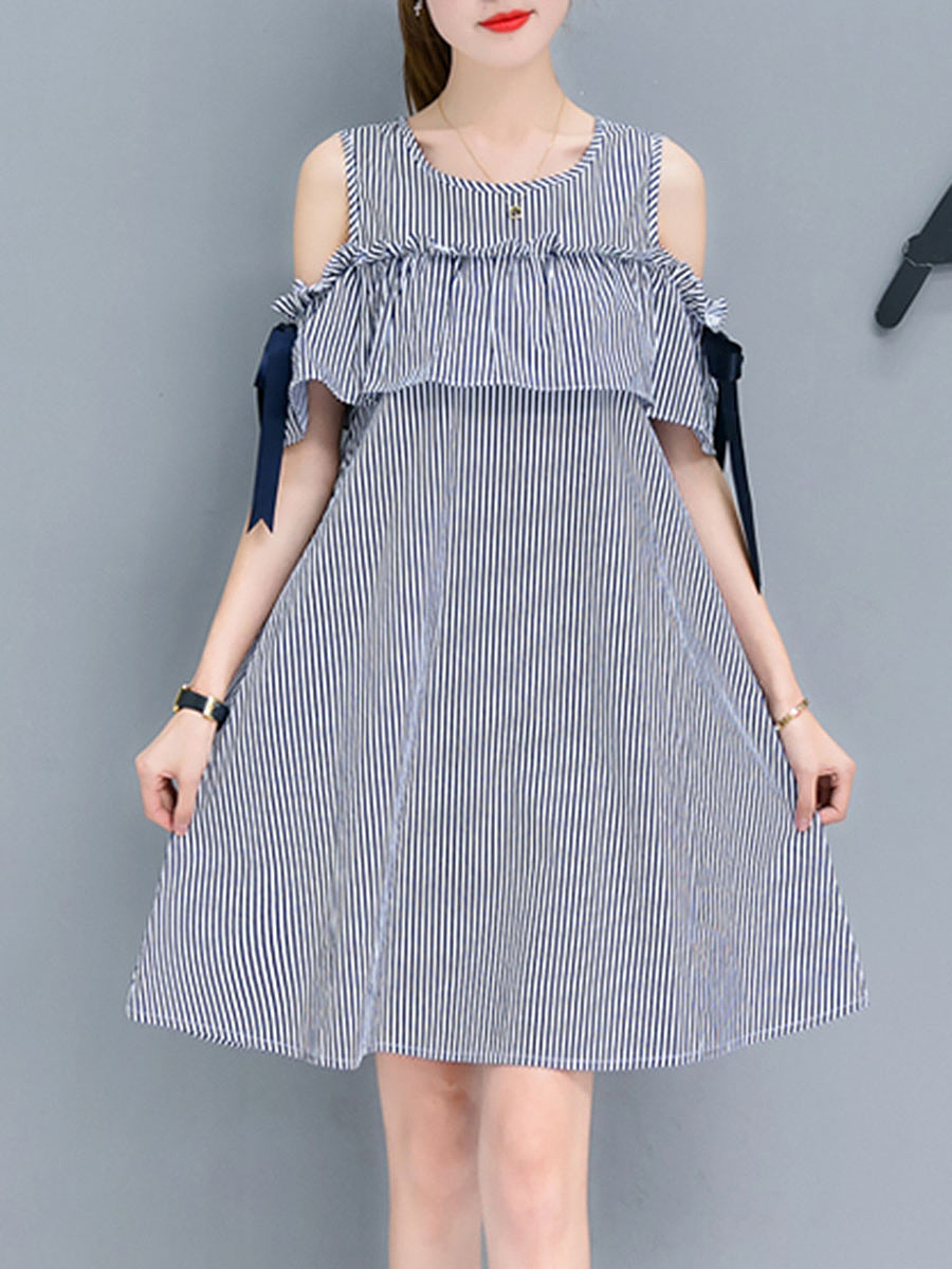 Pinstripe Flounce Open Shoulder Skater Dress