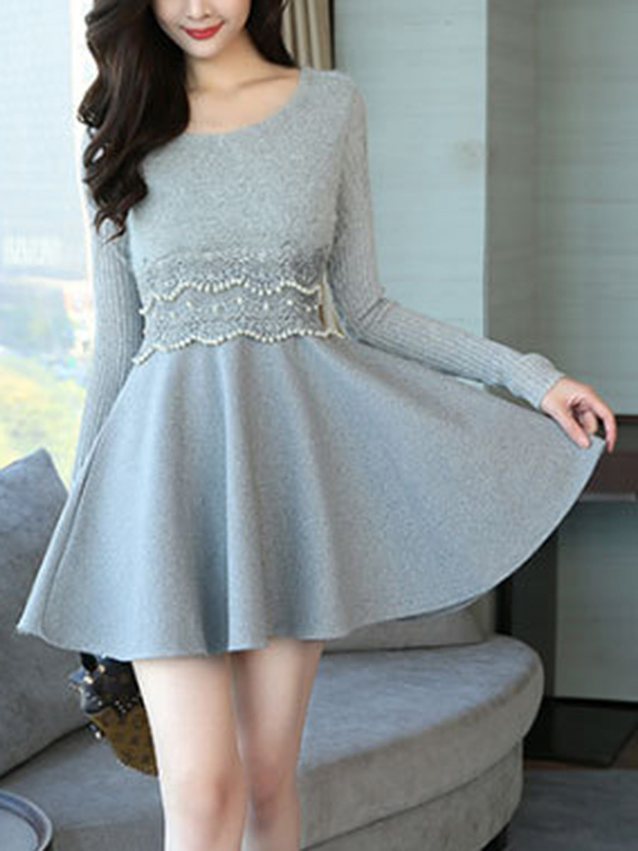 Round Neck Beading Plain Skater Dress