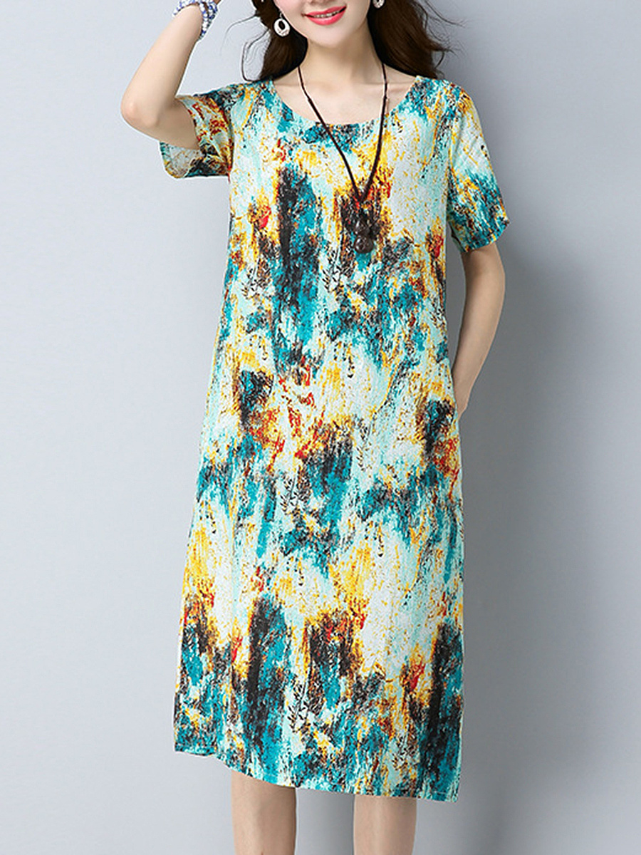 Colorful Printed Round Neck Pocket Midi Shift Dress
