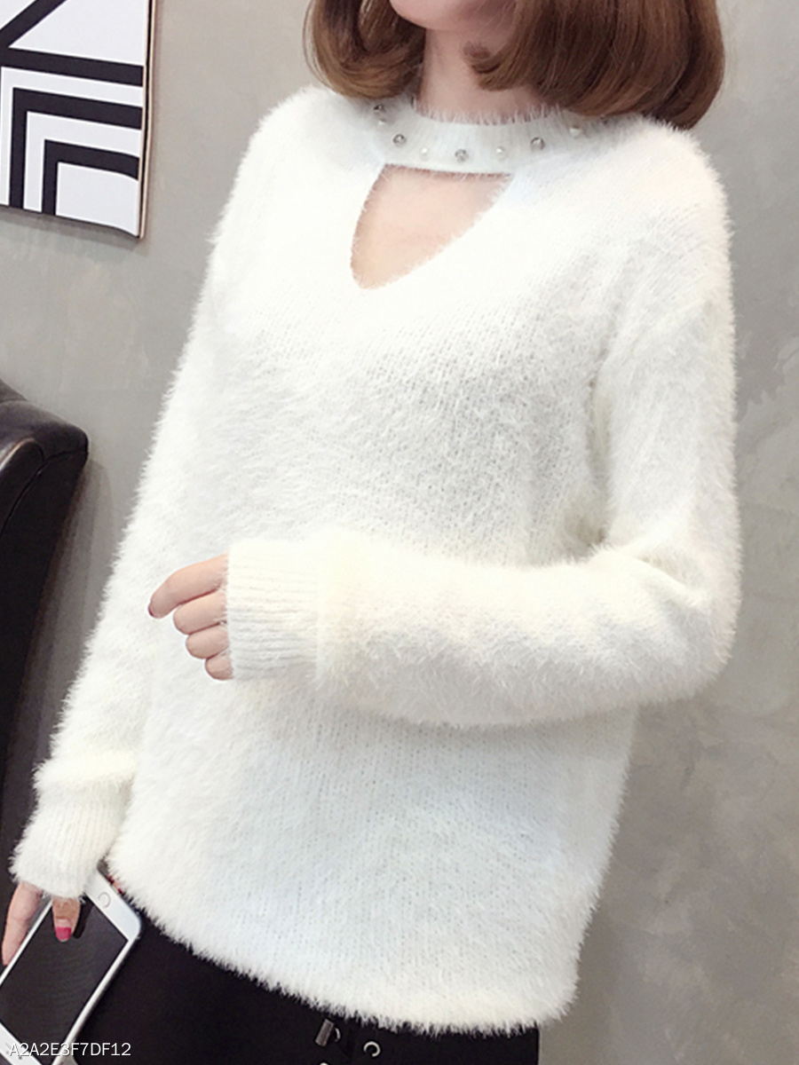 Asymmetric Neck  Beading Cutout  Plain Knit Pullover