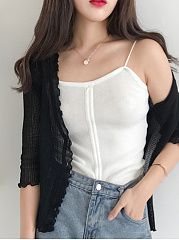 Collarless  Single Breasted  Plain  Three-Quarter Sleeve Cardigans