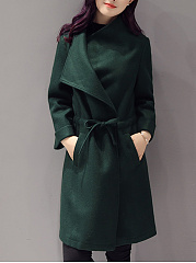 Lapel  Drawstring Slit Pocket  Plain  Long Sleeve Coats