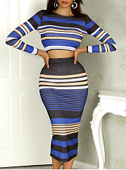 Round Neck  Color Block Striped Bodycon Dress