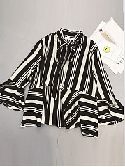 Spring Summer  Polyester  Women  Tie Collar  Bowknot  Striped  Bell Sleeve  Long Sleeve Blouses