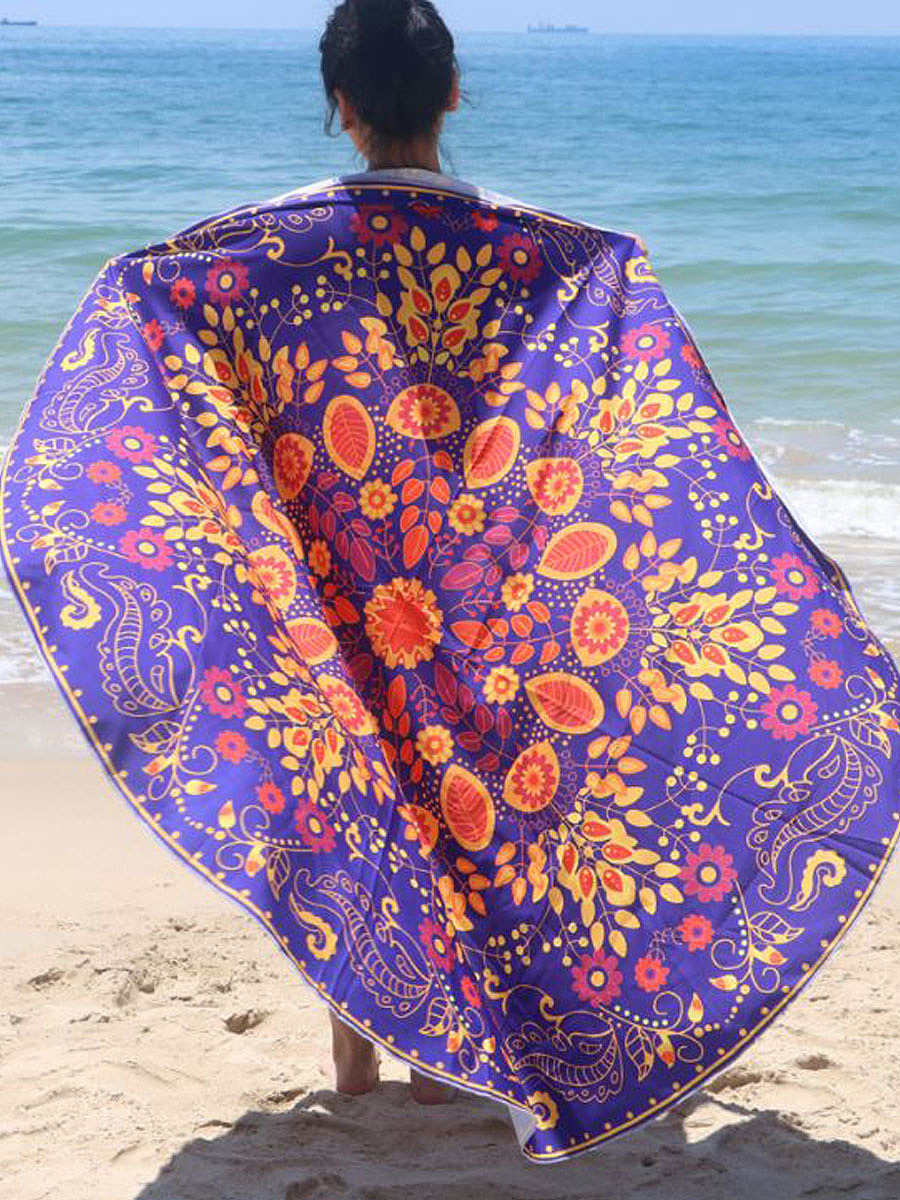 Colorful Floral Round Beach Shawl