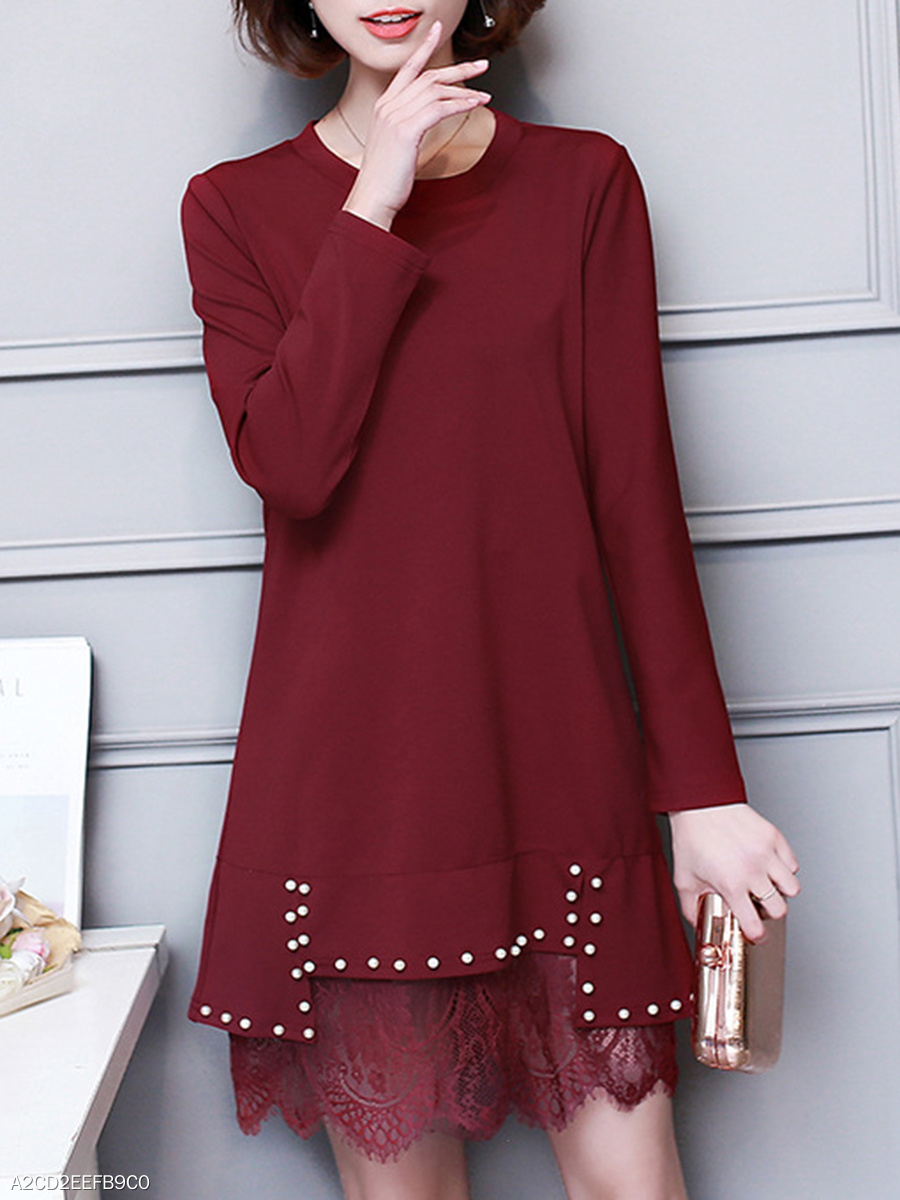 Round Neck Plain Beading Decorative Lace Shift Dress