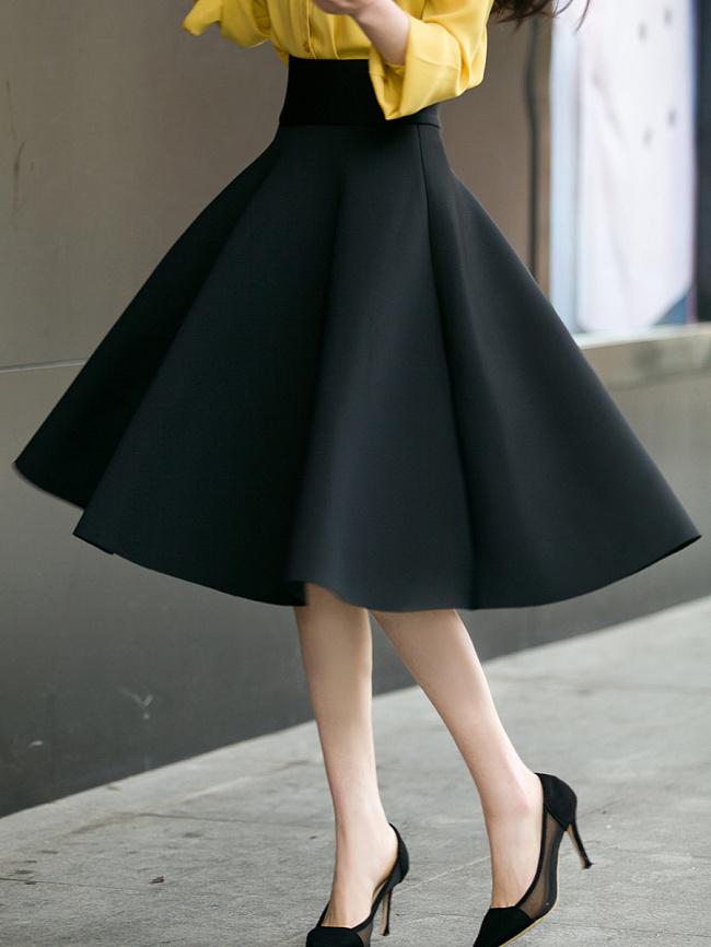 Image of Fashionmia Black Swing Midi Skirt