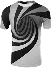 Collarless  Abstract Print  Short Sleeve Short Sleeves T-Shirts