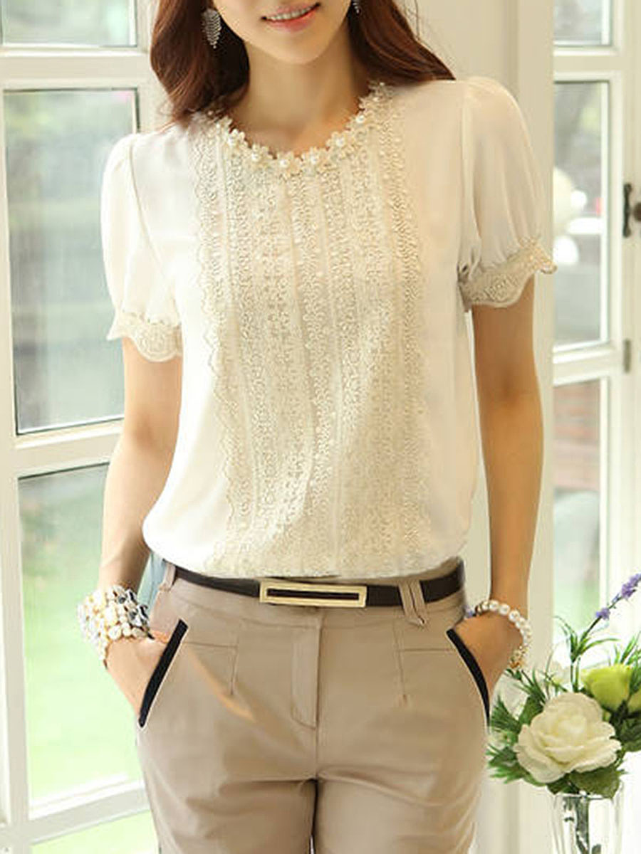 Spring Summer  Chiffon  Women  Round Neck  Beading  Plain  Short Sleeve Blouses