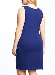 Crew Neck  Bust Darts  Plain Plus Size Bodycon Dress
