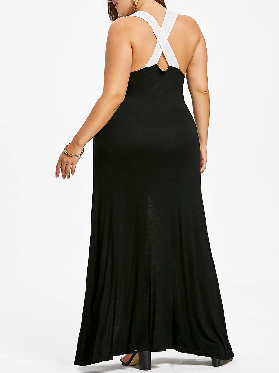 Scoop Neck  Striped Plus Size Midi & Maxi Dresses