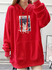 Hooded  Drawstring  Printed  Long Sleeve Hoodies