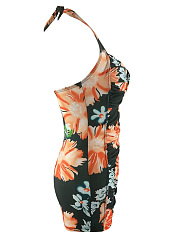 Halter  Floral Printed Ruched One Piece