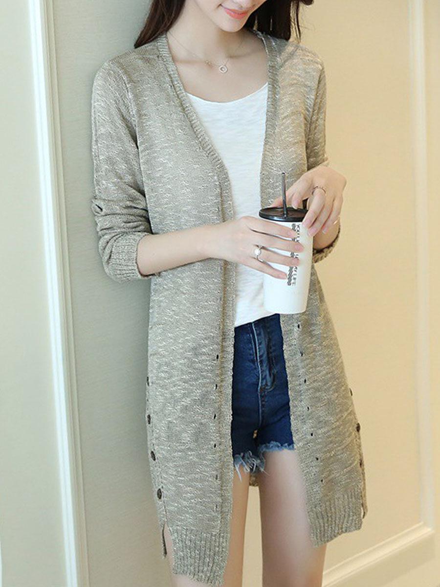 Side Slit Decorative Buttons Plain Knit Cardigans. Side ...