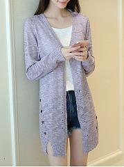 Side-Slit-Decorative-Buttons-Plain-Knit-Cardigans