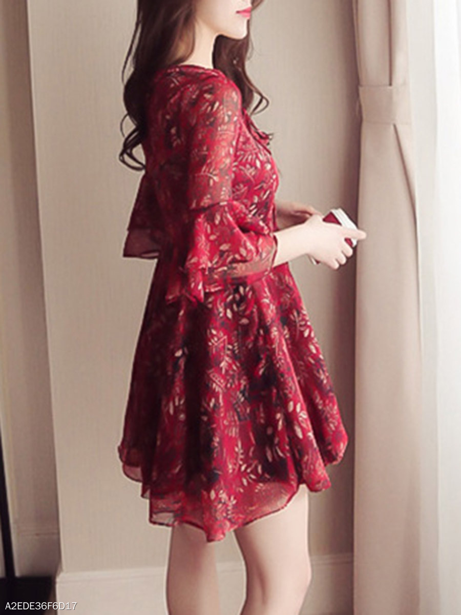 3b75b5f33e V-Neck Bell Sleeve Lace-Up Printed Skater Dress - fashionMia.com