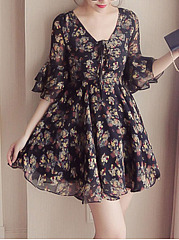 V-Neck Bell Sleeve Lace-Up Printed Skater Dress