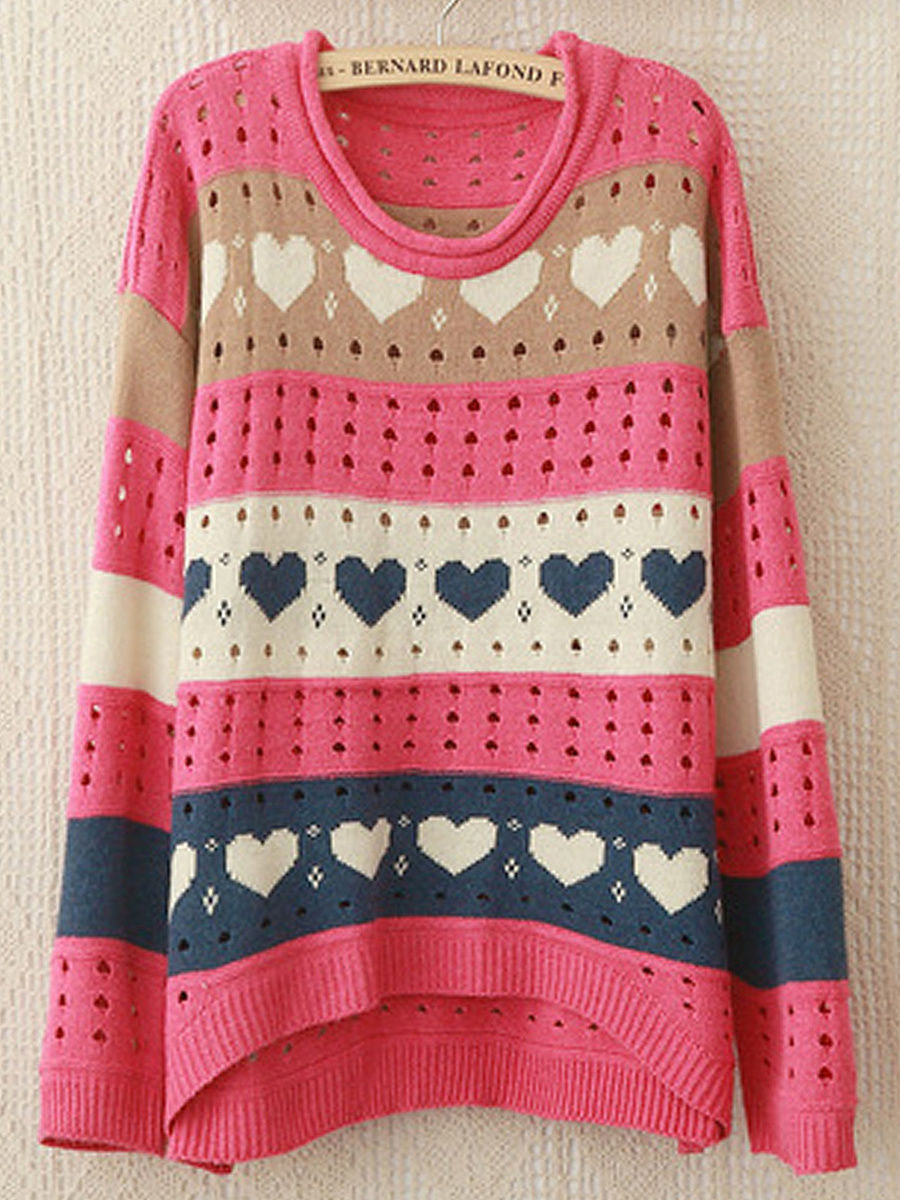 Hollow Out Heart Striped Loose Pullover