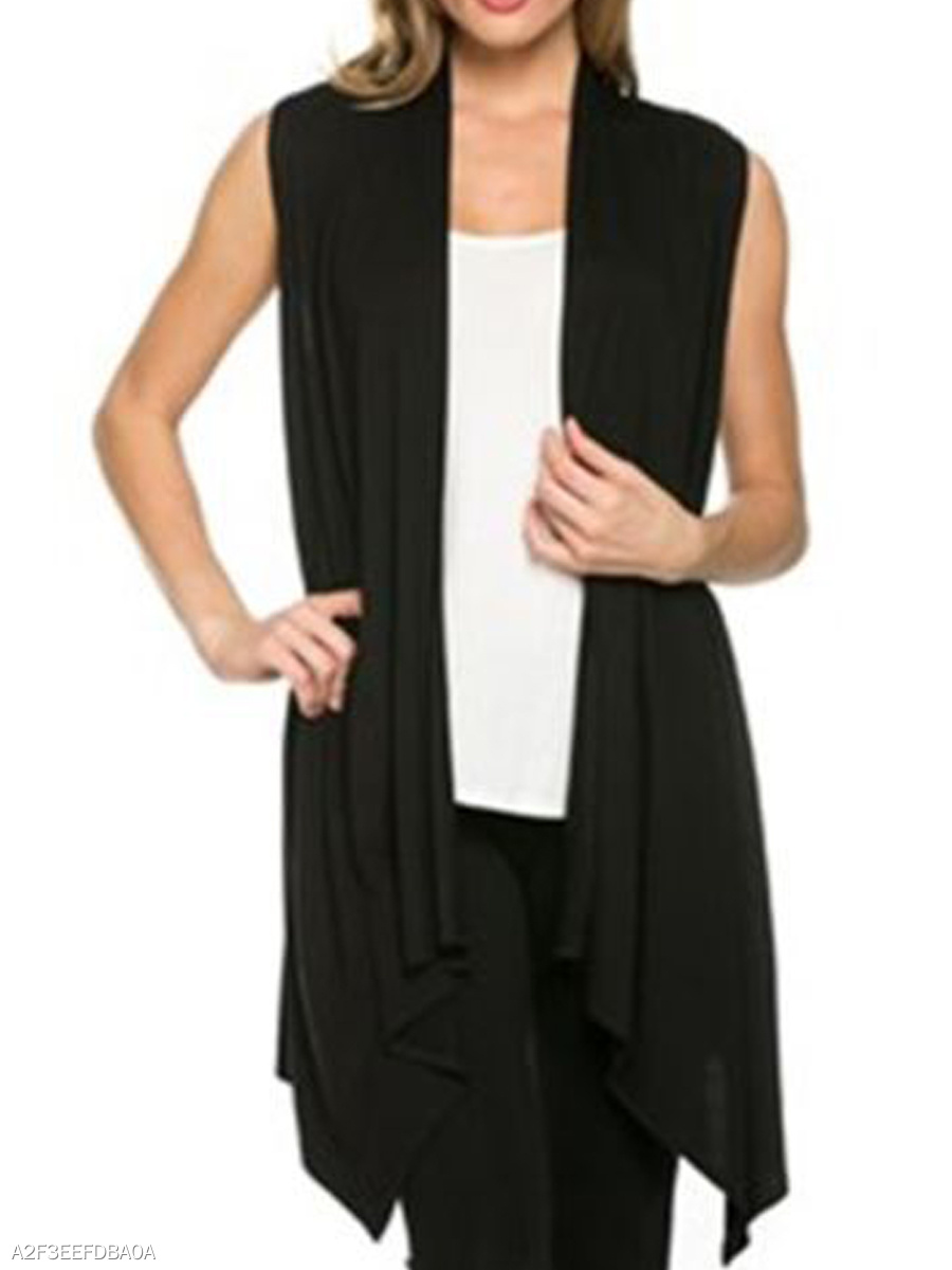 Asymmetric Hem  Plain  Sleeveless Cardigans