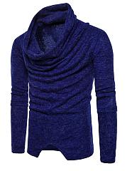 Cowl-Neck-Vented-Plain-Men-Sweater