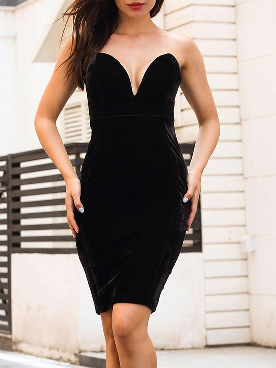 Collarless  Plain Bodycon Dress