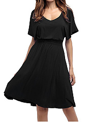 V-Neck Elastic Waist Plain Batwing Sleeve Skater Dress