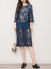 See-Through-Lace-Side-Slit-Plain-Longline-Tunic